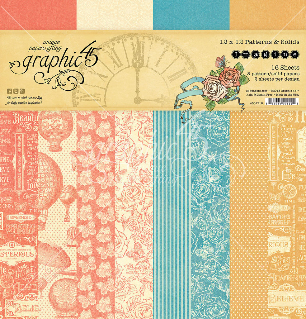Graphic 45 - Imagine 12x12 Patterns & Solids Paper Pad, 16 double-sided sheets