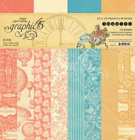 Graphic 45 - Imagine 12x12 Patterns & Solids Paper Pad 16 double-sided sheets