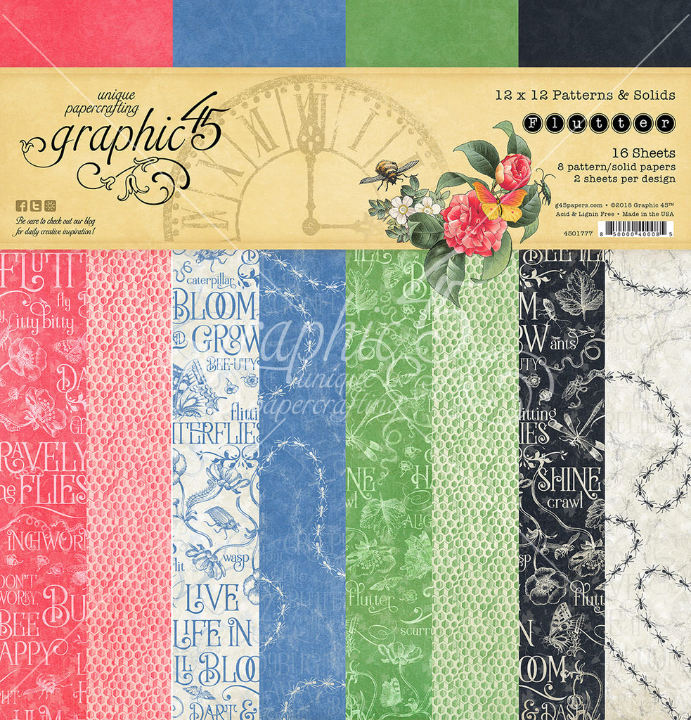 Graphic 45 - Flutter 12x12 Patterns and Solids Paper Pad