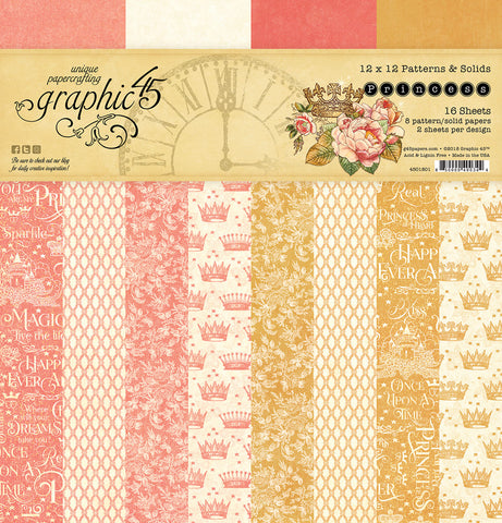 Graphic 45 - Princess 12x12 Patterns and Solids Paper Pad