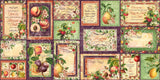 Graphic 45 - Fruit & Flora Ephemera Journaling Cards