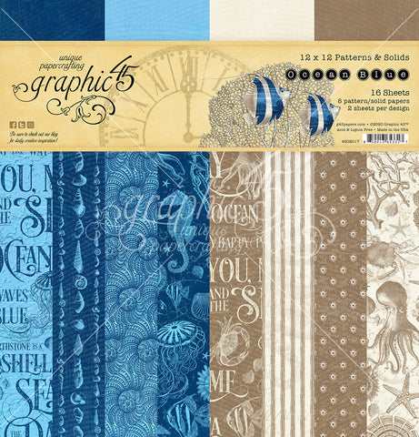 Graphic 45 - Ocean Blue 12 x 12 Patterns & Solids Paper Pad