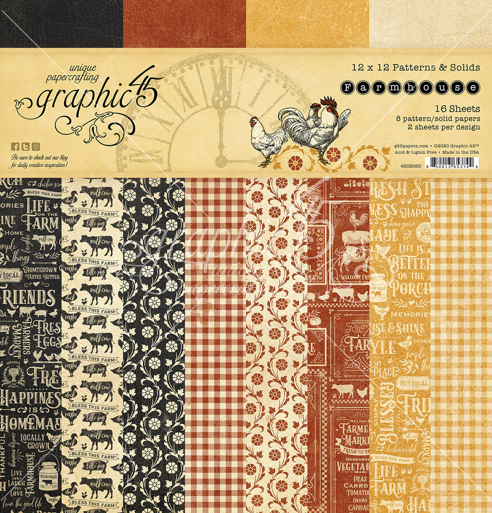 Graphic 45 - Farmhouse 12x12 Patterns & Solids