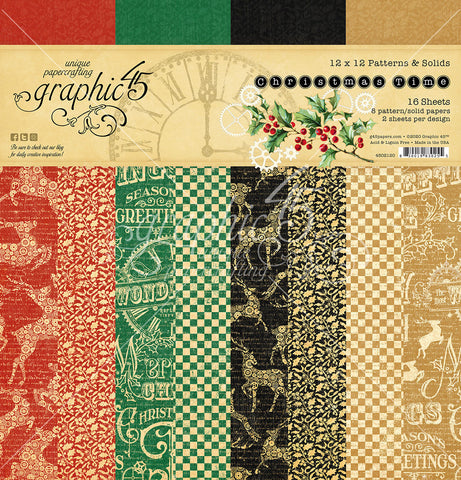 Graphic 45 - Christmas Time 12x12 Patterns and Solids (steampunk, vintage, gears)