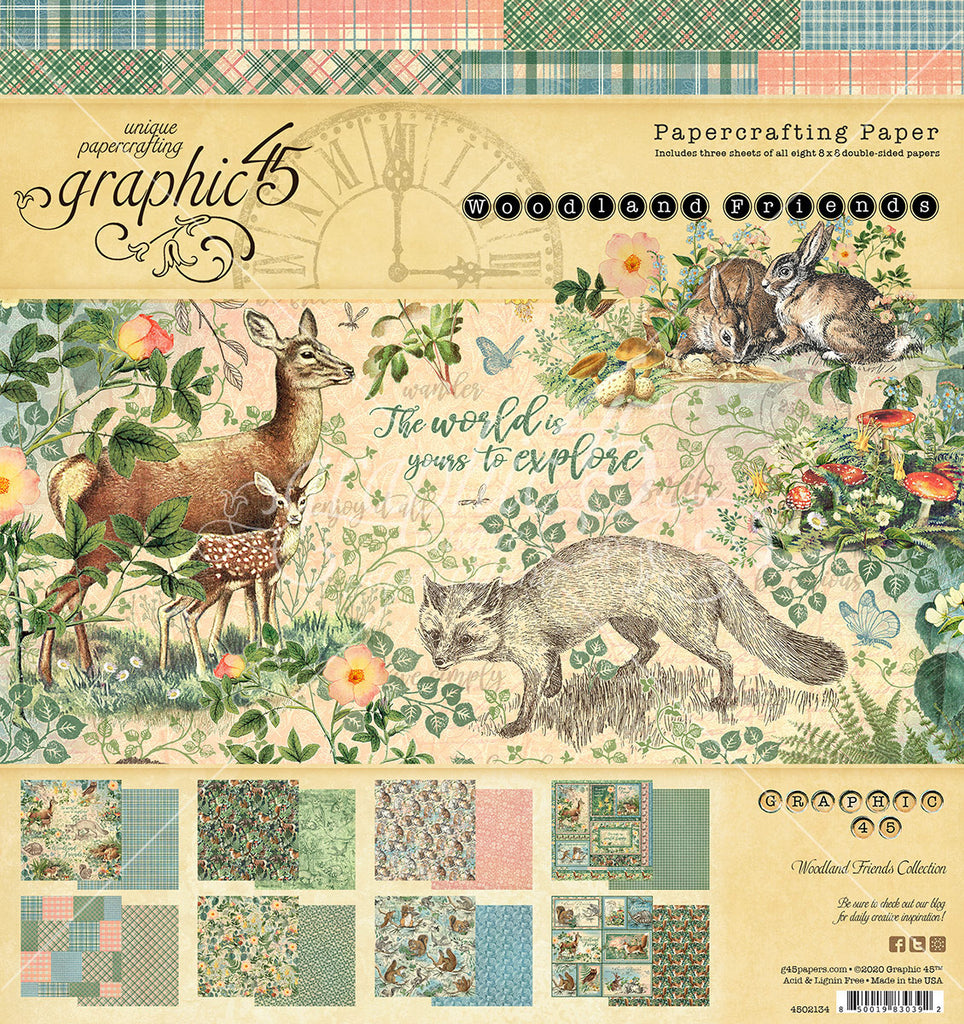 Graphic 45 - Woodland Friends 8X8 Paper Pad