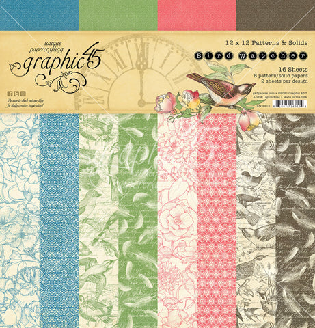 Graphic 45 - Bird Watcher 12x12 Patterns & Solids Paper Pad