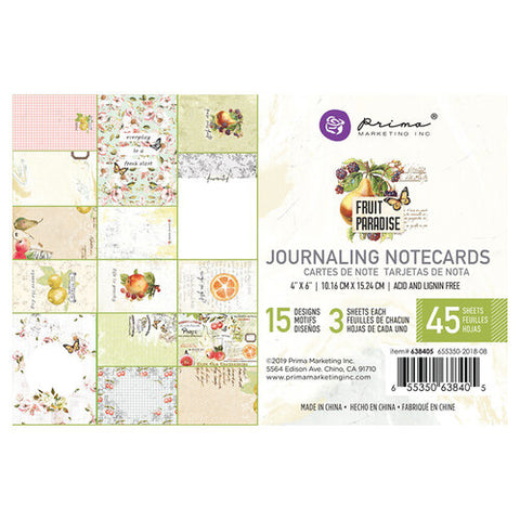 Prima Marketing - Fruit Paradise 4x6 Journaling Notecards (Vintage, Fruit, Floral)