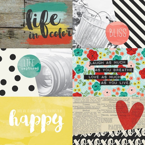 Simple Stories - Life In Color 12x12 #5011 4x6 Horizontal Journaling Card Elements (Retired)