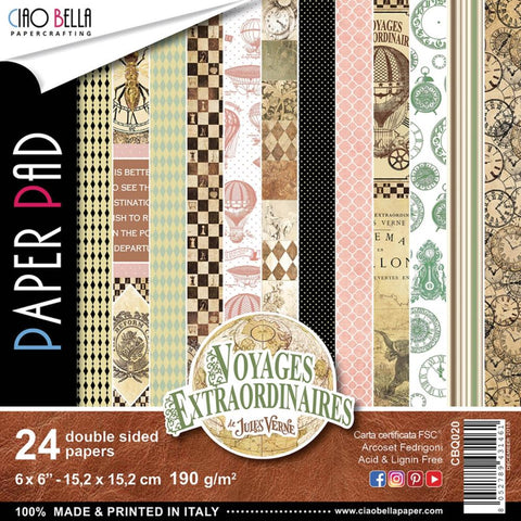 Ciao Bella - Voyages Extraordinaires 6x6 Paper Pad, 24 sheets