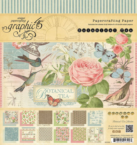 Graphic 45 - Botanical Tea 12x12 Paper Pad and Die Cuts
