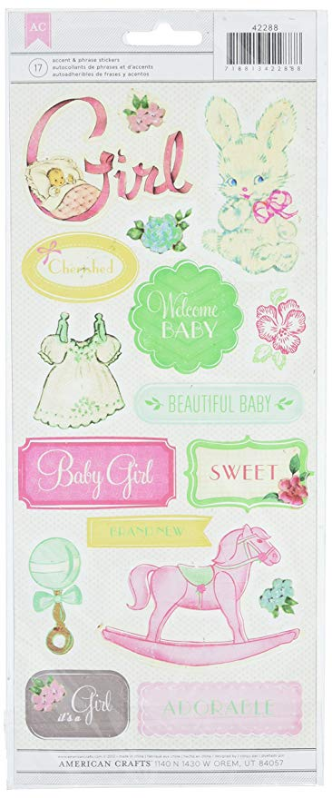American Crafts - Baby Girl Accent & Phrase Stickers