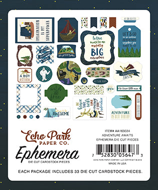 Echo Park - Adventure Awaits Ephemera Die Cuts, 33 pieces