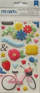 American Crafts - Sweet Tea Remarks, Puffy Stickers 22 pcs, Everyday, Floral