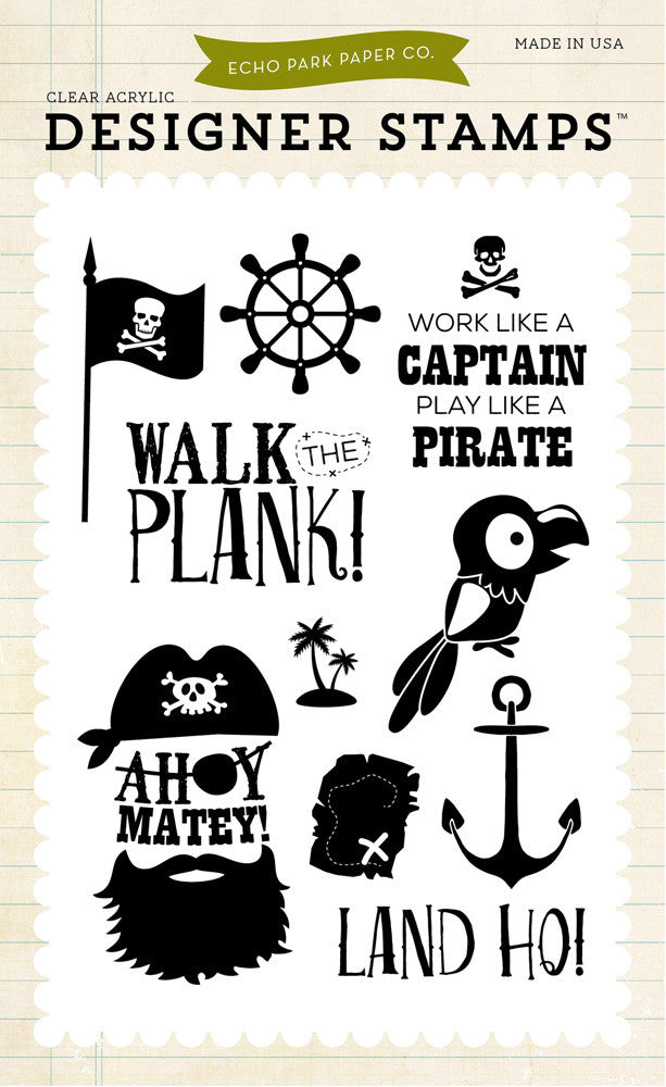 Echo Park - Ahoy Mateys Acrylic Stamp Set (Sea, Pirate)