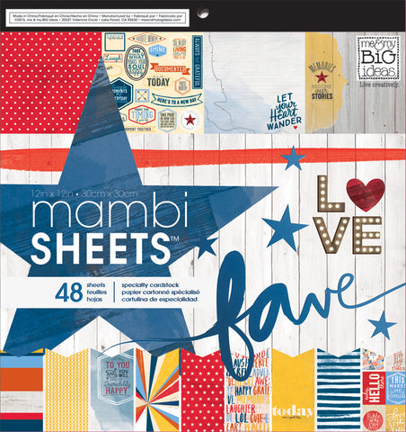 MAMBI - Americana 12x12 Paper Pad, 48 sheets, Patriotic, Everyday Events, Happy