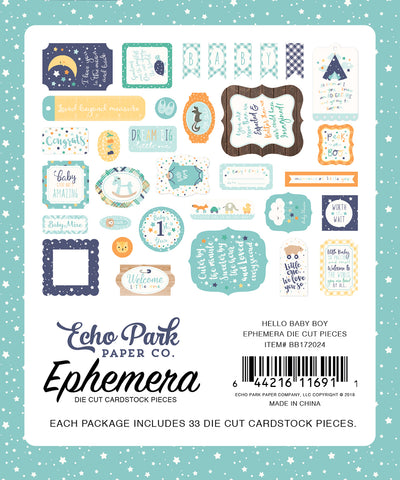 Echo Park - Hello Baby (Boy) Ephemera Die Cuts, 33 pieces