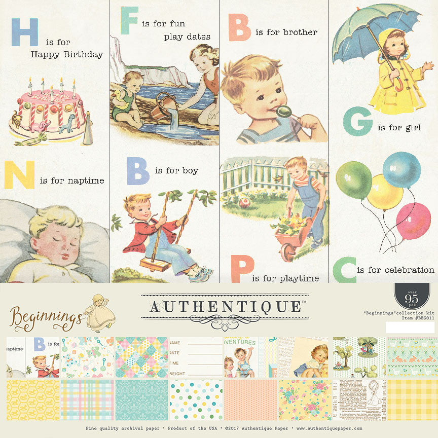 Authentique - Beginnings (Baby) 12x12 Scrapbook Collection Kit