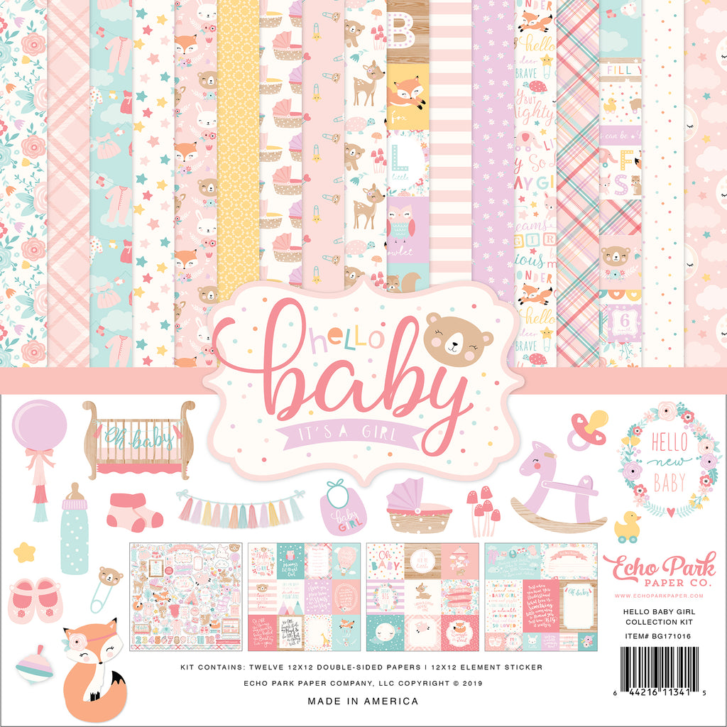 Echo Park - Hello Baby (Girl) 12x12 Scrapbook Collection Kit