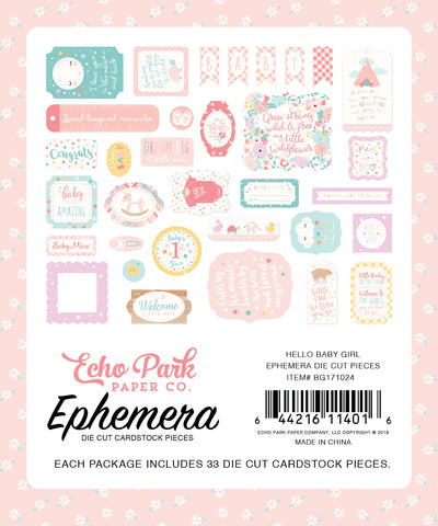 Echo Park - Hello Baby (Girl) Ephemera Die Cuts, 33 pieces