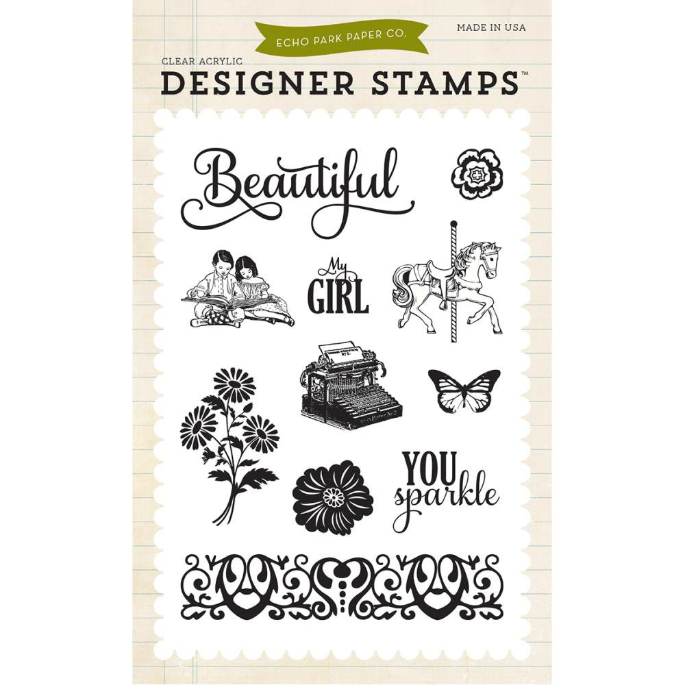 Echo Park - Beautiful Girl Acrylic Stamp Set (Jack & Jill Collection)