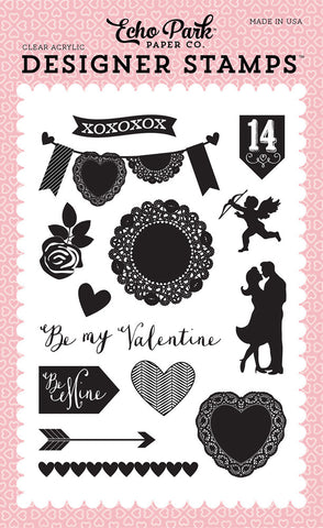 Echo Park - Blowing Kisses Acrylic Stamp Set (Valentines, Love)