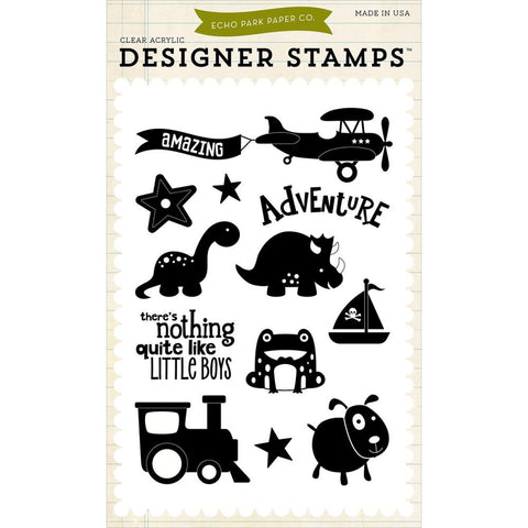 Echo Park - Boy Adventure Acrylic Stamp Set (Little Man Collection)
