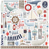 Carta Bella - By The Sea 12x12 Scrapbook Collection Kit (Ocean, Whales, Lighthouse)