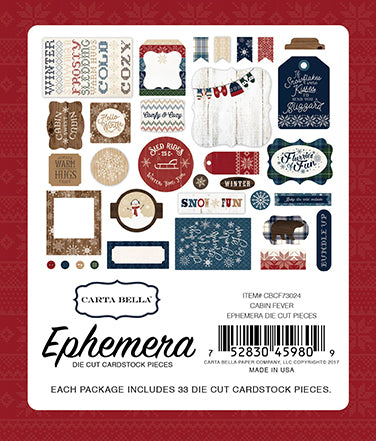 Carta Bella - Cabin Fever Ephemera Die Cuts, 33 pieces (winter)