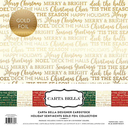 Carta Bella - Holiday Sentiments Gold Foil 12x12 Collection (Christmas, Holiday)