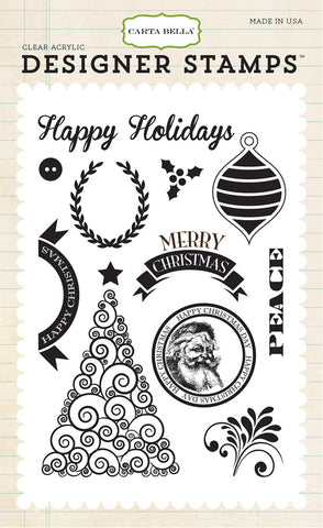 Carta Bella - Happy Christmas Acrylic Stamp Set (Have a Merry Christmas Collection)
