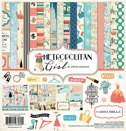 Carta Bella - Metropolitan Girl 12x12 Scrapbook Collection Kit, Retro, Shopping, Women