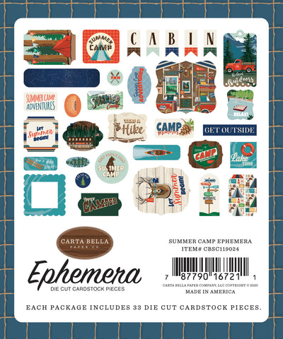 Carta Bella - Summer Camp Ephemera Die Cuts (Camping, Outdoors, Vacation)