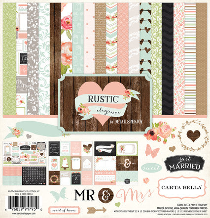 Carta Bella - Rustic Elegance (Wedding) 12x12 Scrapbook Collection Kit