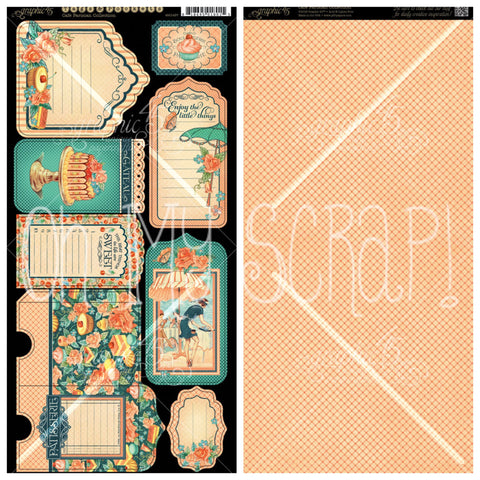 Graphic 45 - Cafe Parisian Tags & Pockets Cardstock Die-Cuts, 2 Double-Sided Sheets