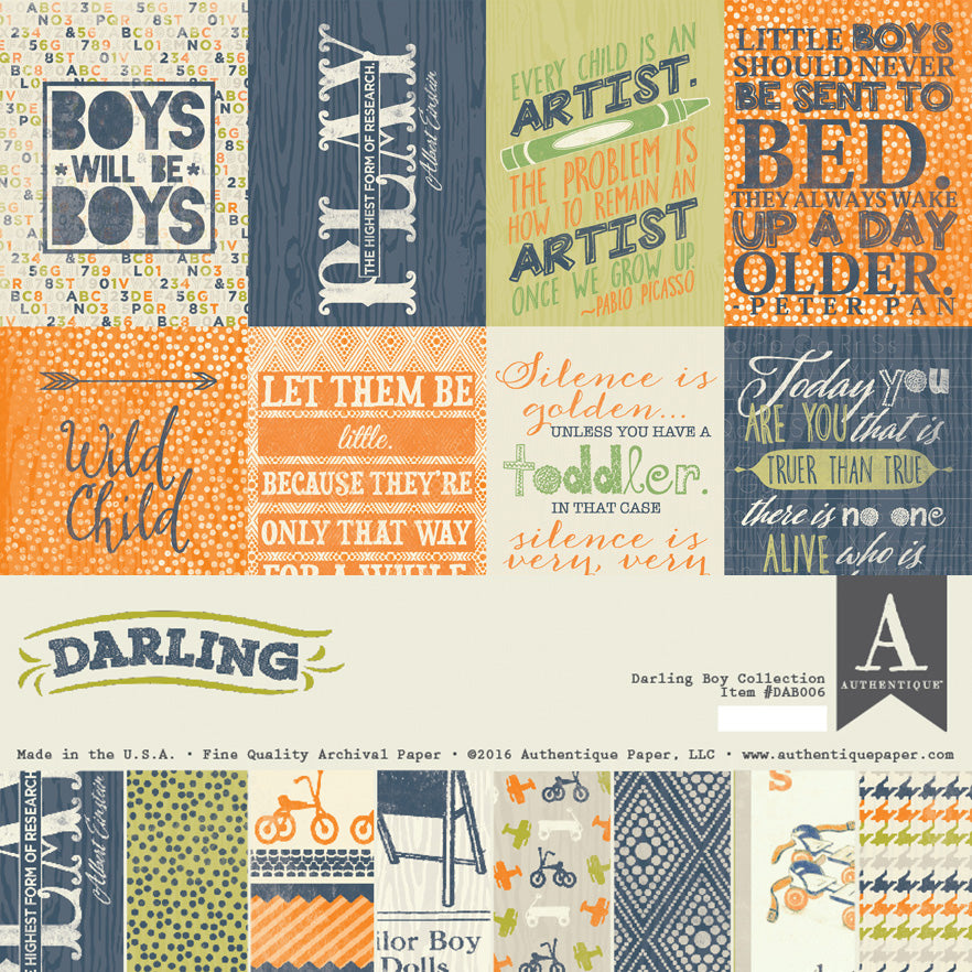 Authentique - Darling Boy 12x12 Scrapbook Collection Kit (Baby, Toddler, Vintage)