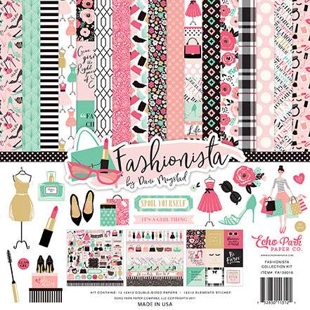Echo Park - Fashionista 12x12 Scrapbook Collection Kit (Women, Shopping, Makeup)