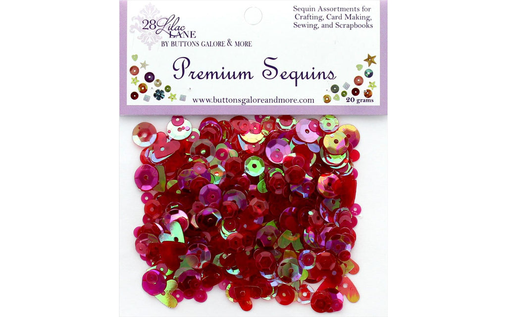 Buttons Galore 28 Lilac Lane - Fire Sequins (Valentines, Hearts, Red)