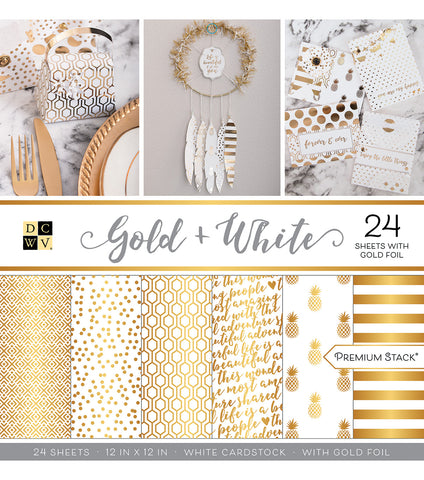 DCWV - Gold & White 12x12 Scrapbook Premium Stack (Wedding, Everyday)