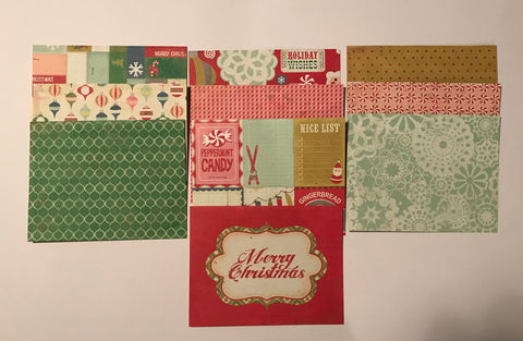 Crate Paper (American Crafts) - Peppermint Christmas Cards - 40 cards & envelopes