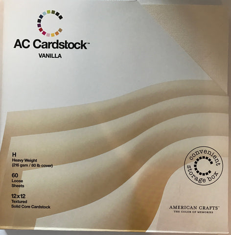 American Crafts - 12x12 Vanilla Textured Solid Core Cardstock