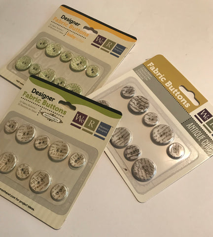 We R Memory Keepers - Fabric Buttons Bundle (Baby Mine, Anthologie, Antique Chic)