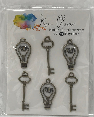Ken Oliver Vintage Bulbs and Keys Embellishments by Maya Road