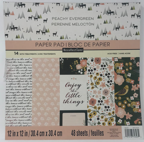Recollections - Peachy Evergreen 12x12 Scrapbook Paper Pad (Nature)