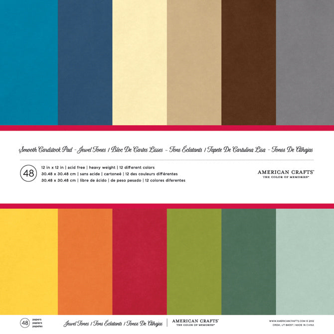 American Crafts - 12x12 Jewel Tones Textured Solid Core Cardstock, 60 ct.