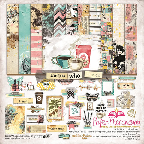 Paper Phenomenon - Ladies Who Lunch 12x12 Paper Collection and Embellishments