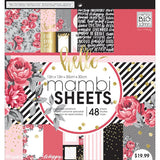 MAMBI - Life is Rosy 12x12 Scrapbook Paper Pad (Roses, Reds, Pinks, Gold & Silver Foil)