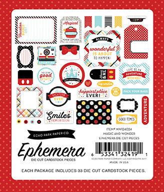 Echo Park - Magic and Wonder Ephemera Die Cuts, 33 Pieces (Disney)