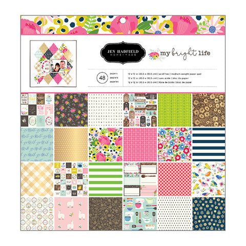 Jen Hadfield - My Bright Life 12x12 Scrapbook Paper Pad, 48 sheets