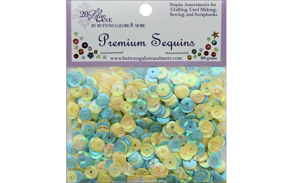 28 Lilac Lane - New Leaf Sequins - 20 grams (Spring, Baby Boy, yellow, blue)