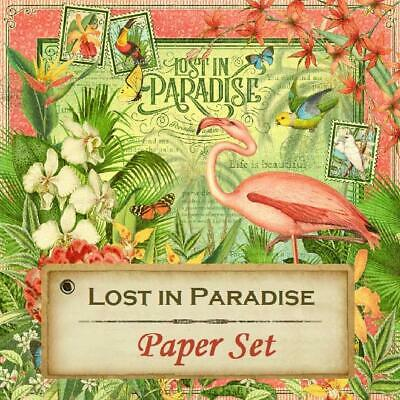 GRAPHIC 45 - Lost In Paradise 12X12 Paper Set (8 Sheets) Tropical, Flamingos